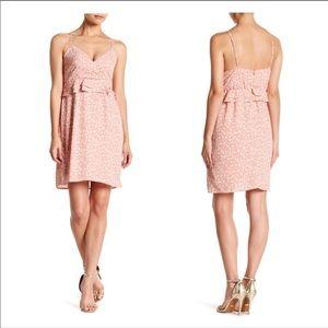 Pink Ruffled Trim Floral Dress